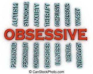 βασανιστικός , (ocd, disorder), issu, imagen, 3d , ή , ...