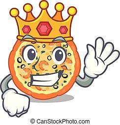 βασιλιάs , θαλασσινά , πίνακας , επάνω , γελοιογραφία , πίτα με τομάτες και τυρί