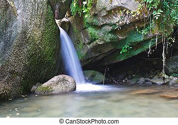 βγάζω τα κουκούτσια , βουνό , δροσιστικός , ρυάκι , ανάμεσα , γοητευτικός , νερό , ρεύση , ορμίσκος