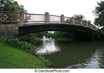 βγάζω τα κουκούτσια γέφυρα , μέσα , ένα , κήπος