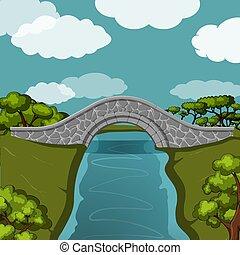 βγάζω τα κουκούτσια γέφυρα , πάνω , ο , river.