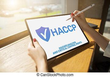 βεβαίωση , haccp, επικριτικός , διακόπτης , ποιότητα , δικάζω , ανάλυση , μέτρο , - , διεύθυνση , point., κίνδυνοs