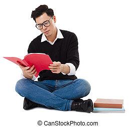 βιβλίο ανάγνωσης , νέοs άντραs , κάθονται