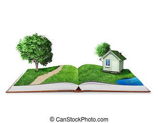 βιβλίο , κόσμοs , πράσινο , ανοίγω , φύση