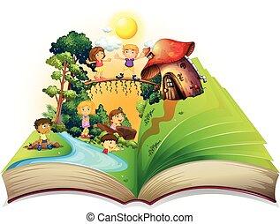 βιβλίο , πάρκο , παίξιμο , παιδιά