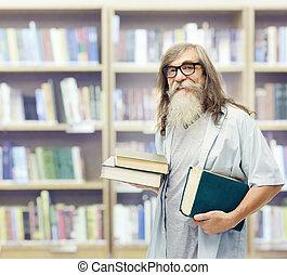 βιβλιοθήκη , ώριμος , γυαλιά , γέροντας , σπουδαστής , αρχαιότερος , αγία γραφή , γένια , μόρφωση