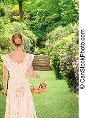 βικτωριανός γυναίκα , περίπατος , κήπος