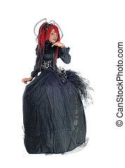 βικτωριανός , dress., μαύρο γυναίκα , αφρικανός