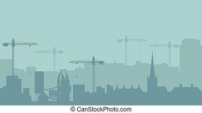 βιομηχανικός , αφαιρώ , silhouette., πανοραματικός , μικροβιοφορέας , illustratuion, skyline., δομή , τοπίο