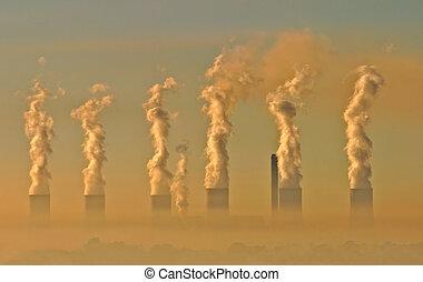 βιομηχανικός , μίγμα καπνού και ομίχλης