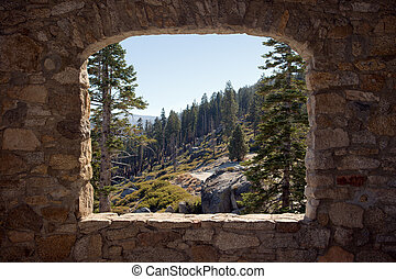 βλέπω , διαμέσου , ένα , πέτρα , παράθυρο
