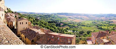 βλέπω , πανοραματικός , tuscany , τοπίο