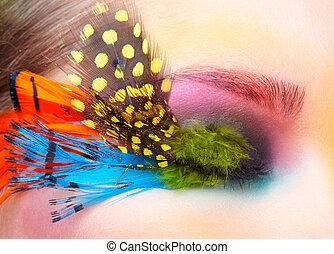 βλεφαρίδες , γυναίκα , μόδα , φτερό , διαρρύθμιση