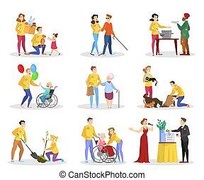 βοήθεια , άνθρωποι , set., συλλογή , φιλανθρωπία , εθελοντής