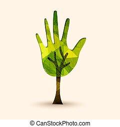 βοήθεια , δέντρο , εικόνα , χέρι , περιβάλλον , πράσινο