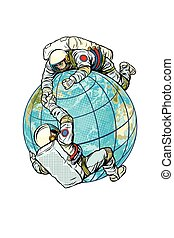 βοήθεια , δυο , αστροναύτης , πλανήτης , άλλος , έκαστος , γη