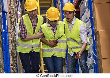 βοήθεια , συνάδελφος , accident., βοήθεια , αποθήκη , εργάτης , μετά