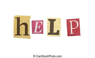 βοήθεια , cutout , εφημερίδα , γράμματα