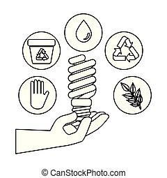 βολβός , οικονόμος , οικολογία , χέρι , απεικόνιση