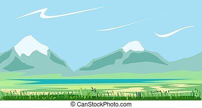 βοτάνι , τοπίο , λίμνη , εικοσιτετράωρο ανέφελος , βουνό