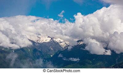 βουνά , εναντίον , ο , θαμπάδα , ουρανόs , 4k