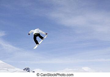 βουνά , ιπτάμενος , snowboarder
