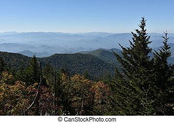 βουνά , σπουδαίος , καπνίζων , πάρκο , θόλος , clingmans, εθνικός , βλέπω