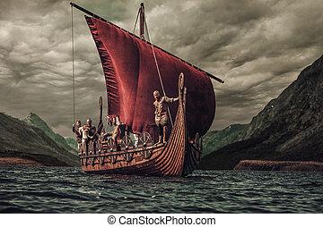 βουνά , vikings, θάλασσα , σύνολο , φόντο , πλωτός , drakkar