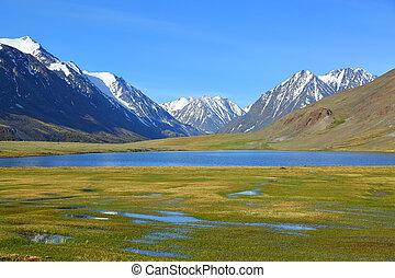 βουνήσιος γραφική εξοχική έκταση , με , λίμνη