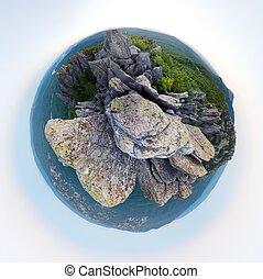 βουνήσιοσ. , μικρός , πλανήτης , panorama.