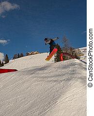 βουνό , αγνοώ , snowboarder , snowpark, action: