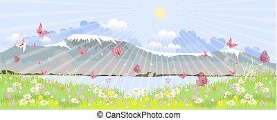 βουνό , ακμάζων , λουλούδια , λιβάδι , πανόραμα
