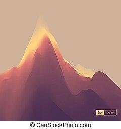 βουνό , γραφική εξοχική έκταση. , ορεινός , terrain., μικροβιοφορέας , εικόνα , για , σημαία , αεροπόρος , εξώφυλλο βιβλίου , poster., αφαιρώ , φόντο.