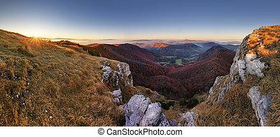 βουνό , ηλιοβασίλεμα