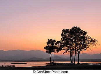 βουνό , ηλιοβασίλεμα , πάνω , όμορφος