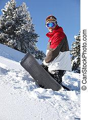 βουνό , περίπατος , snowboarder , πάνω