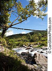 βουνό , ποτάμι , με , απαγχόνιση , γέφυρα