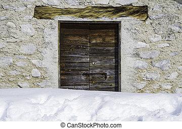 βουνό , πόρτα , ξύλινος , ανακριτού αδιαπέραστος , υποχωρώ