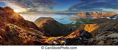 βουνό , lofoten , πανόραμα , - , οκεανόs , νορβηγία , τοπίο