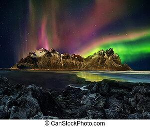 βουνό , stockknes, vestrahorn, αυγή , iceland., βεληνεκές , borealis