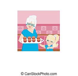 βούτημα , εγγονή , ψήνω , αυτήν , γιαγιά