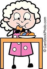 βούτημα , εικόνα , μικροβιοφορέας , γιαγιά , - , γριά , κατάλληλος για να φαγωθεί ωμός , γυναίκα , γελοιογραφία