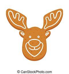 βούτημα , xριστούγεννα , άρτος αρωματισμένος με τζίντζερ , τάρανδος , σχήμα