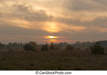βράδυ , επαρχία , φθινόπωρο , ηλιοβασίλεμα , ομιχλώδης , πριν