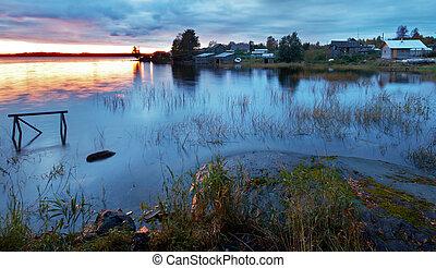 βράδυ , λίμνη , ladoga, karelia, ατάραχα