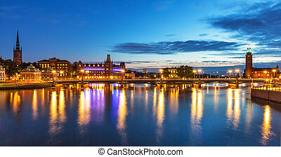 βράδυ , πανόραμα , από , στοκχόλμη , σουηδία
