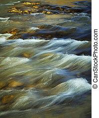 βράδυ , φθινόπωρο , ποτάμι , με , καταρράκτης