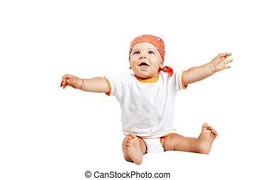 βρέφος αγόρι , άσπρο , απομονωμένος , ευτυχισμένος