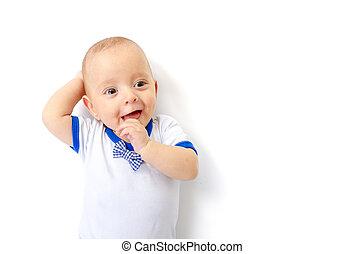 βρέφος αγόρι , άσπρο , κειμένος , πάτωμα
