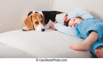 βρέφος αγόρι , δικός του , σκύλοs